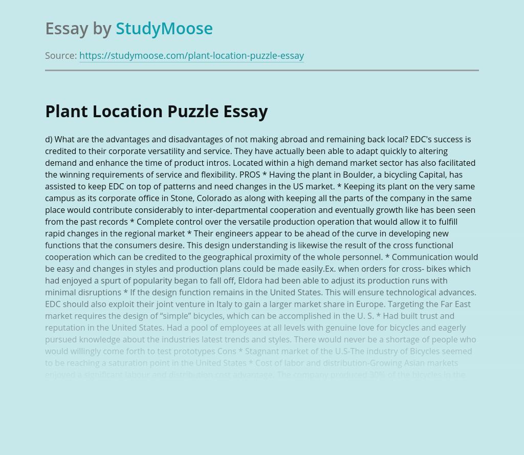 Plant Location Puzzle