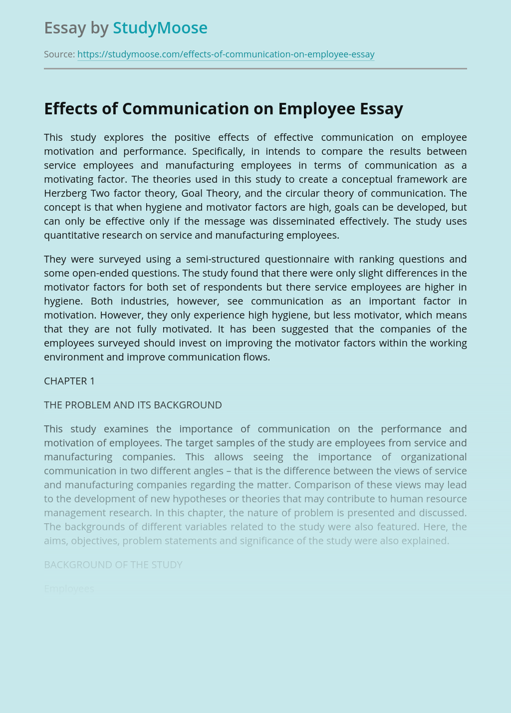 Effects of Communication on Employee