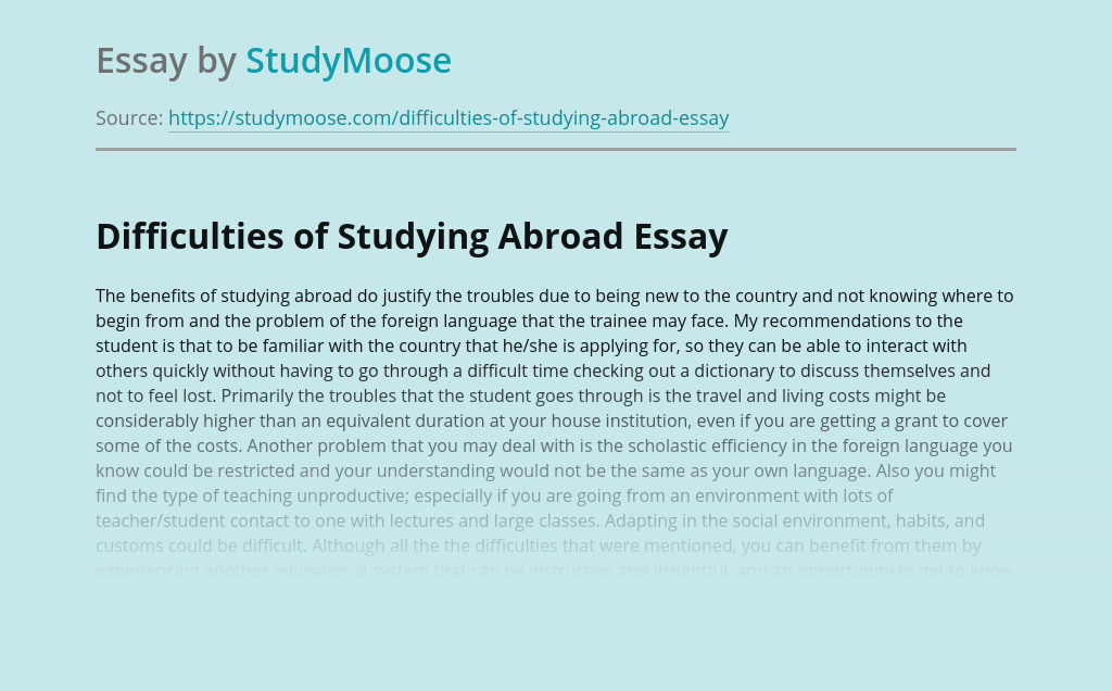 Difficulties of Studying Abroad