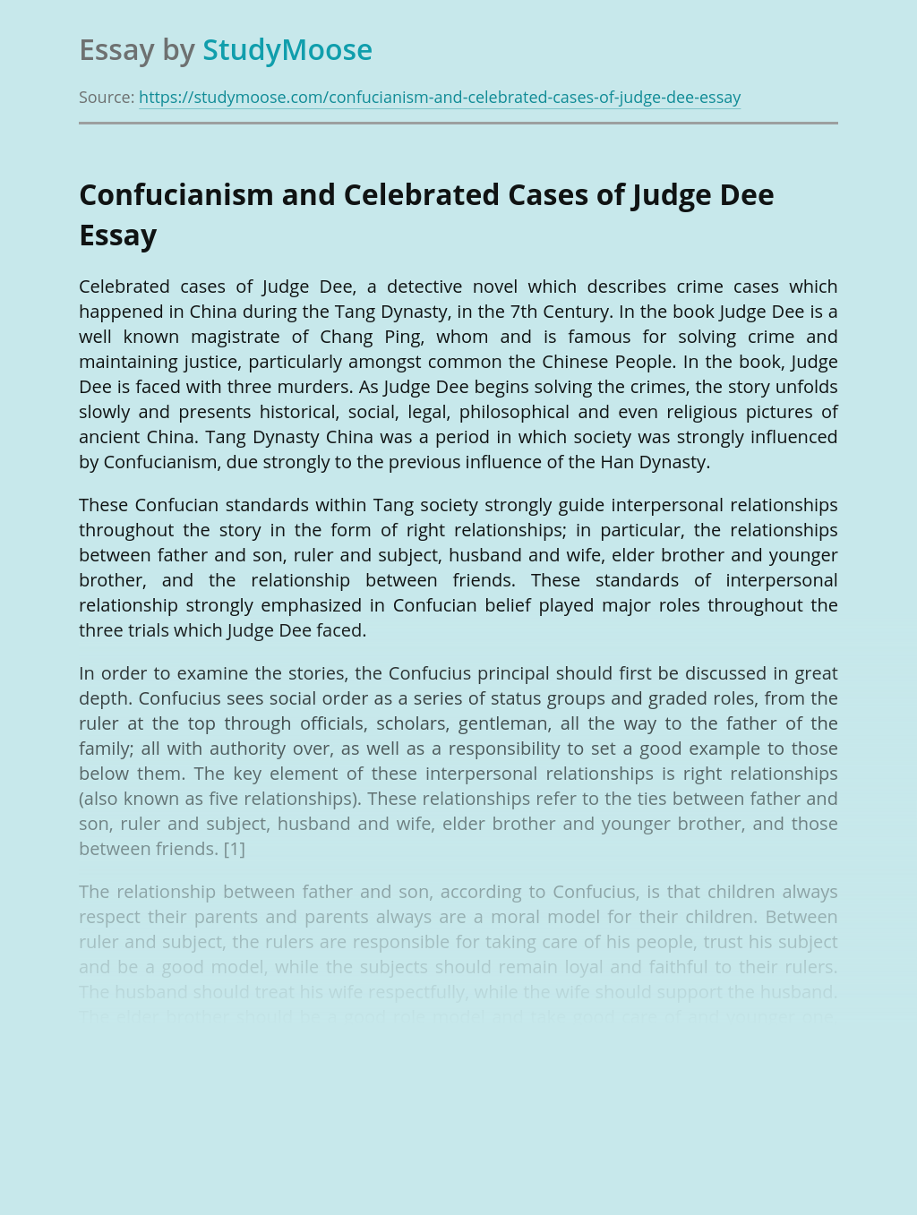 Confucianism and Celebrated Cases of Judge Dee