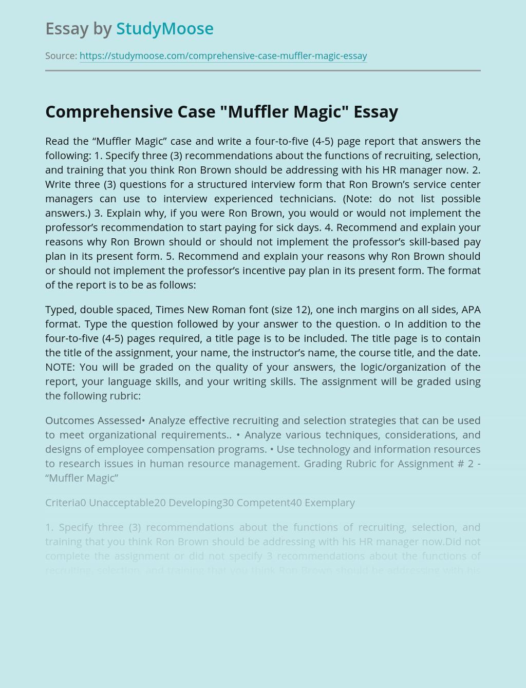 """Comprehensive Case """"Muffler Magic"""""""