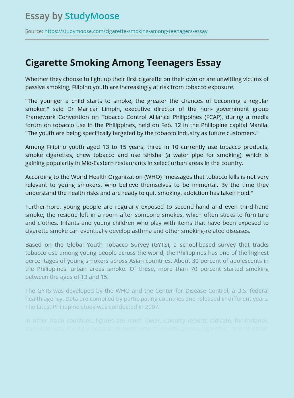 Cigarette Smoking Among Teenagers