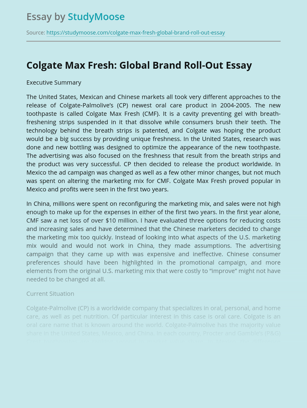 Colgate Max Fresh: Global Brand Roll-Out