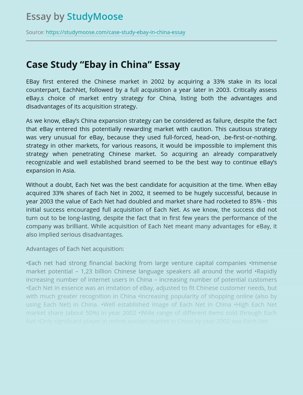Case Study Ebay In China Free Essay Example