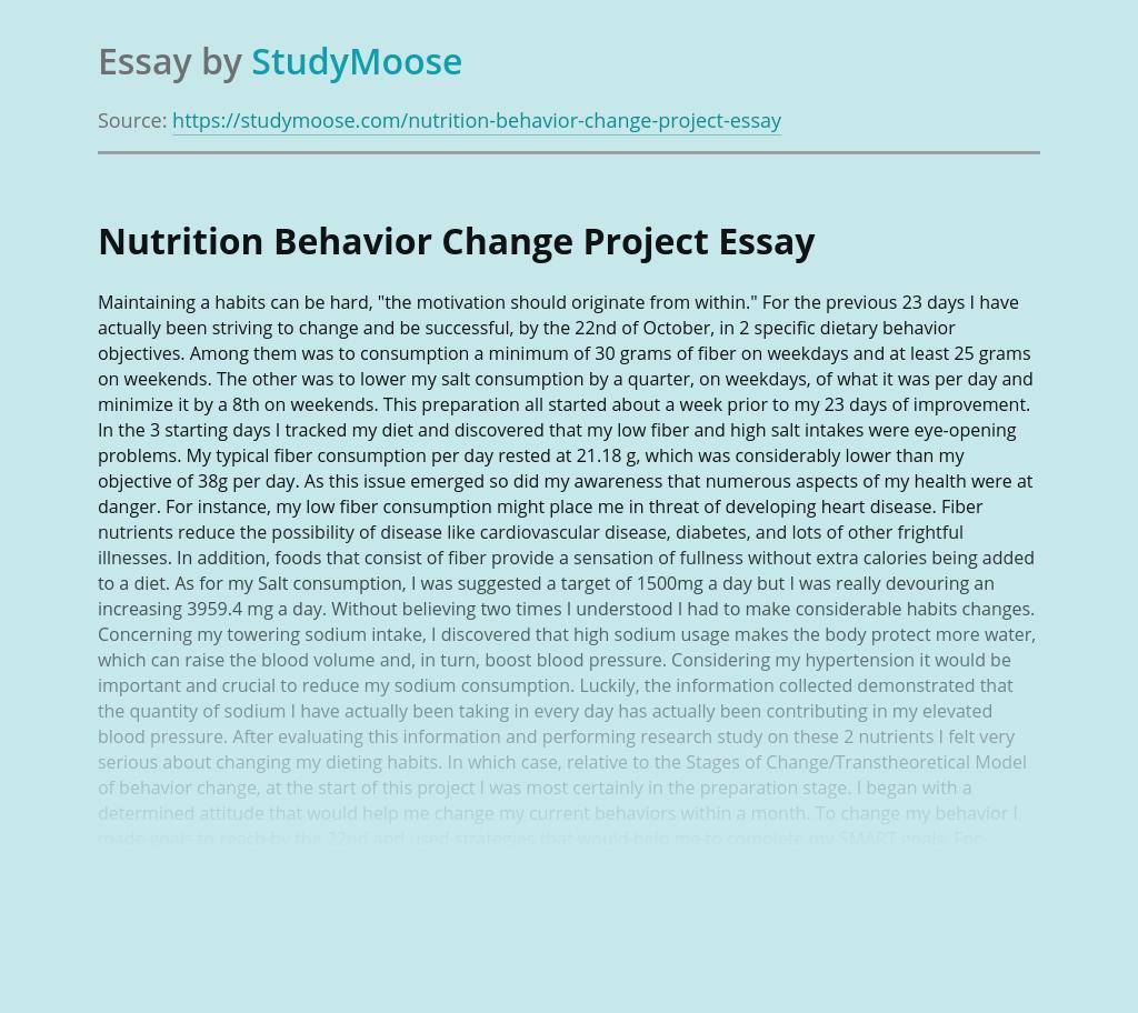 Nutrition Behavior Change Project