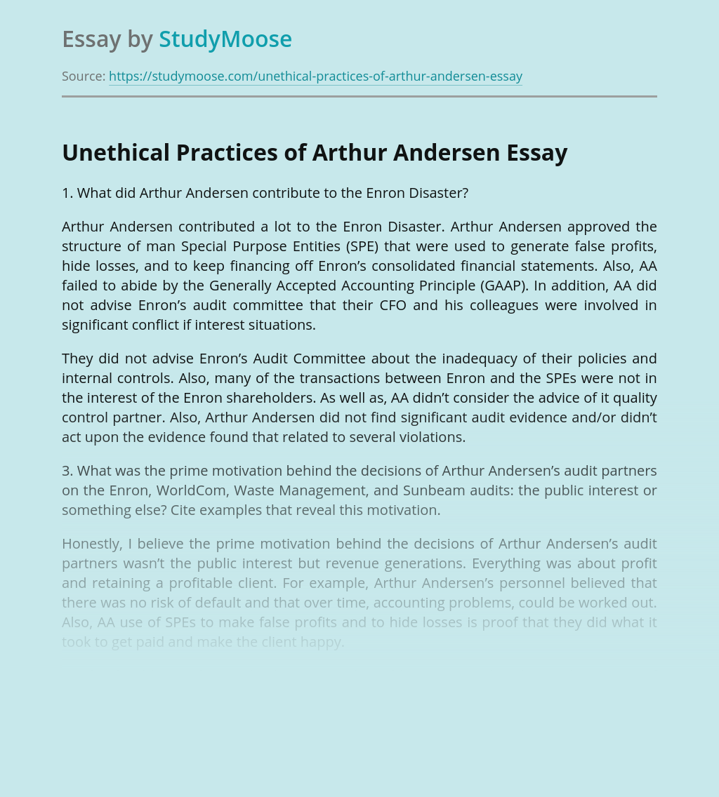 Unethical Practices of Arthur Andersen