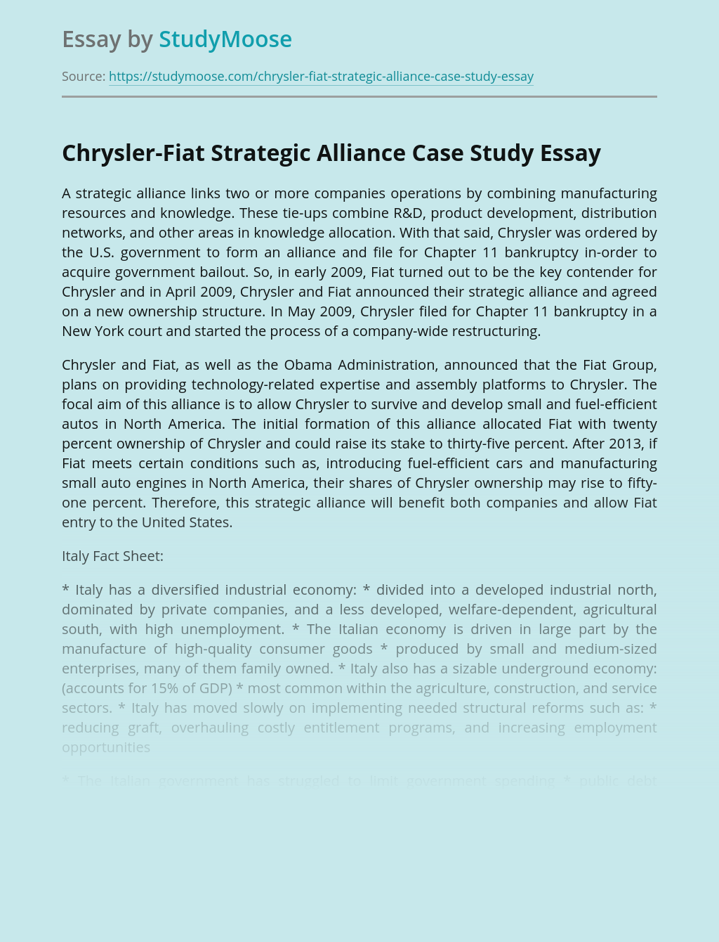 Chrysler-Fiat Strategic Alliance Case Study