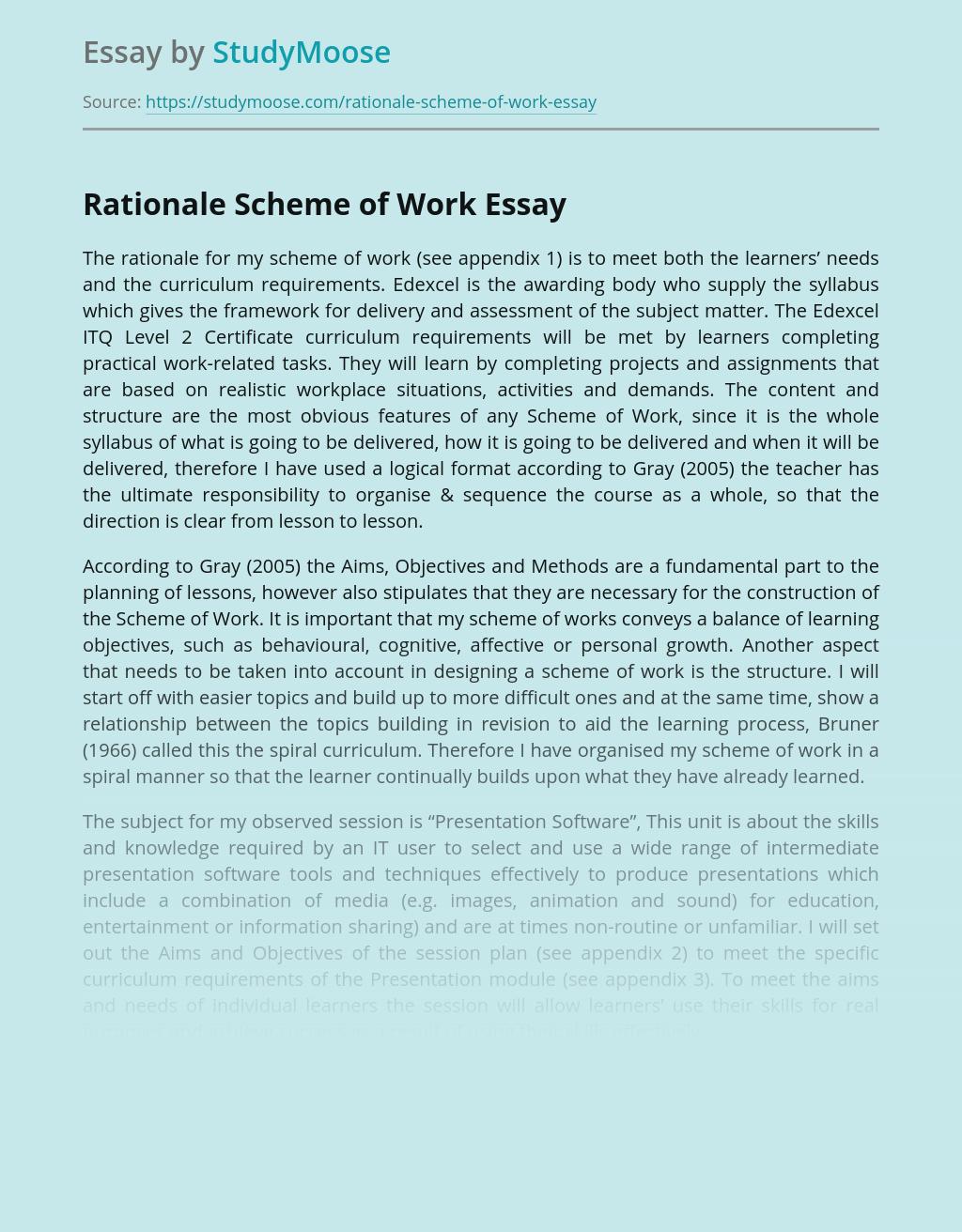 Rationale Scheme of Work