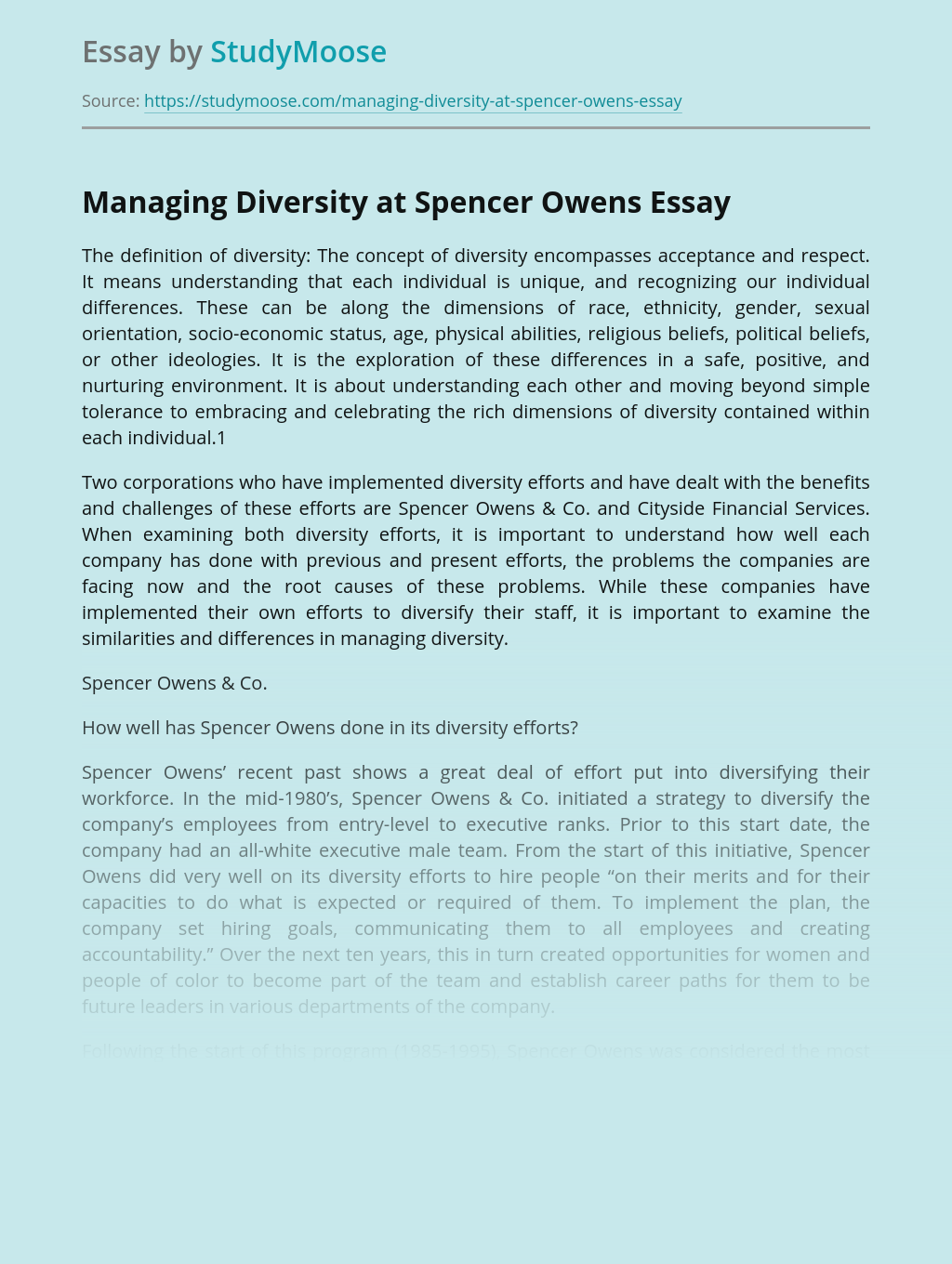 Managing Diversity at Spencer Owens