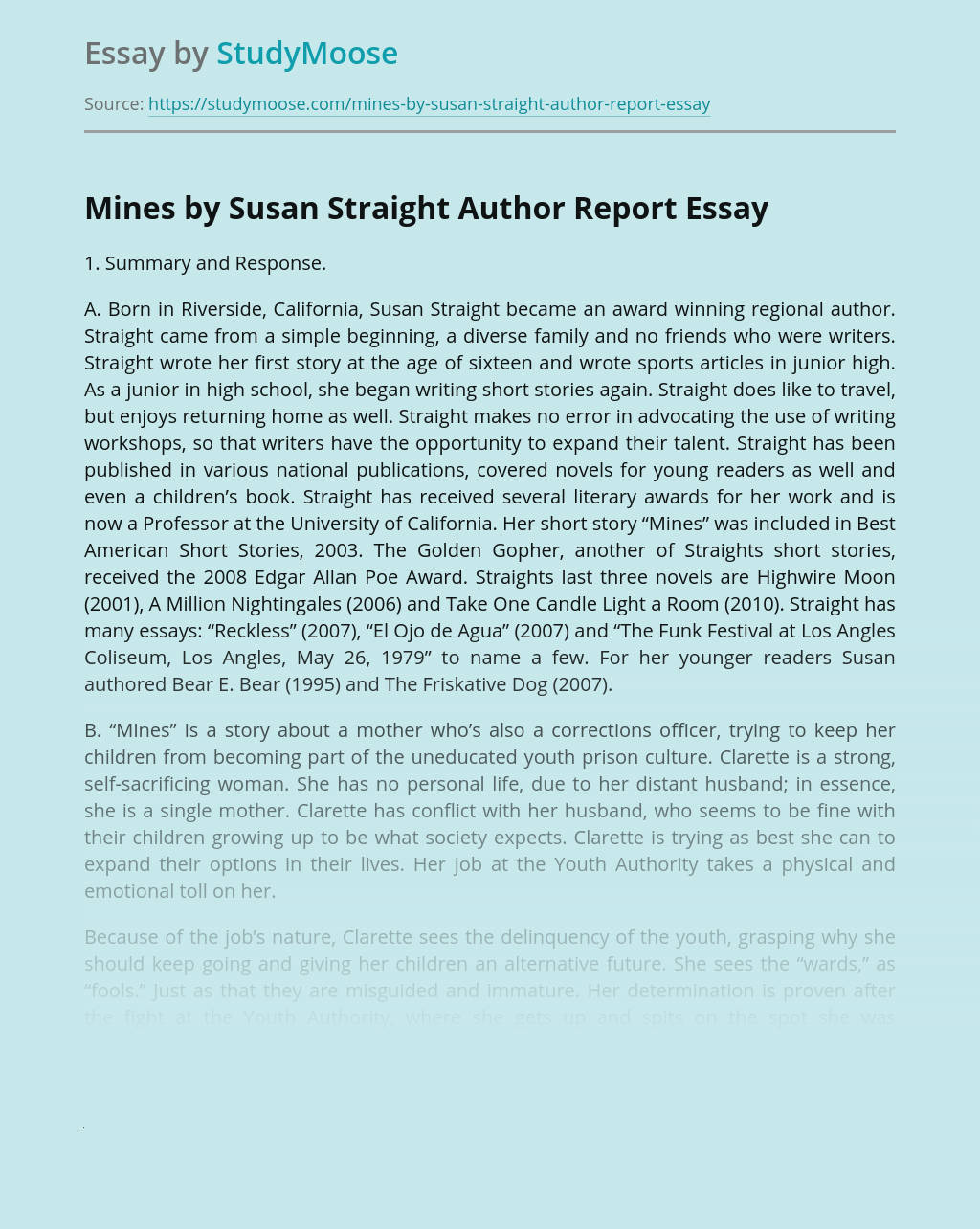 Mines by Susan Straight Author Report