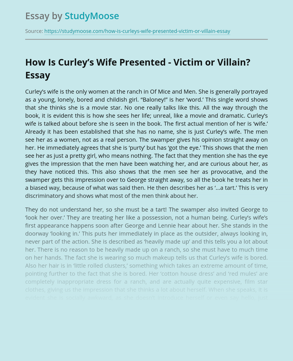 How Is Curley's Wife Presented - Victim or Villain?