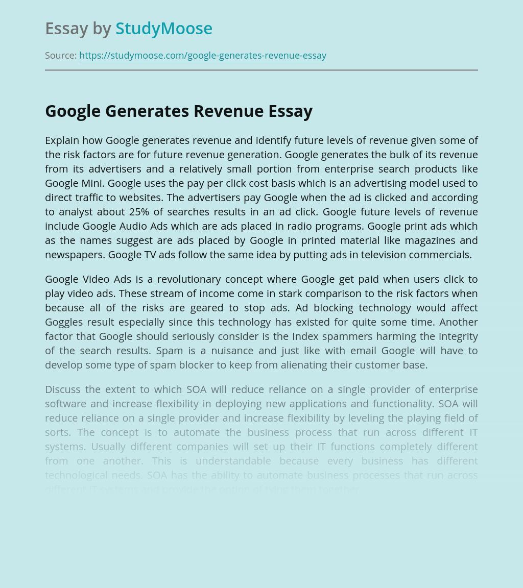 Google Generates Revenue