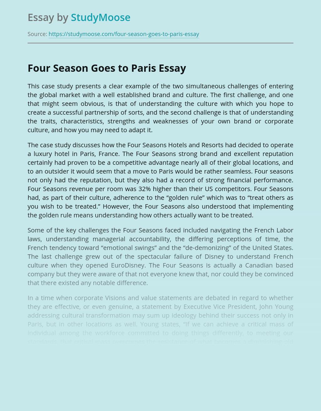 Four Season Goes to Paris