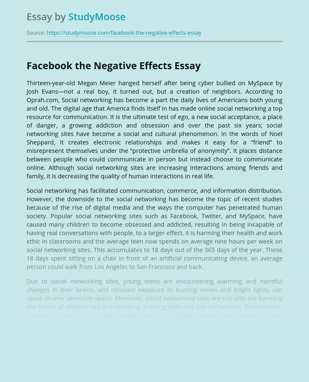 Facebook the Negative Effects