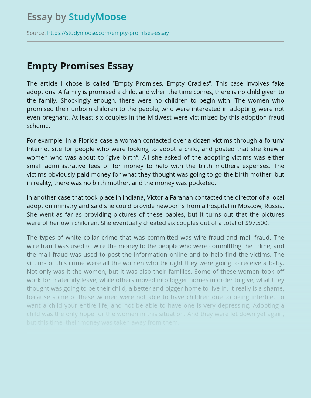 "The Article ""Empty Promises, Empty Cradles"""