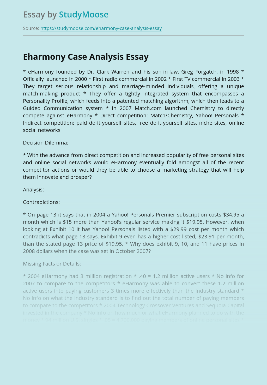 Marketing And Advertising of eHarmony Analysis