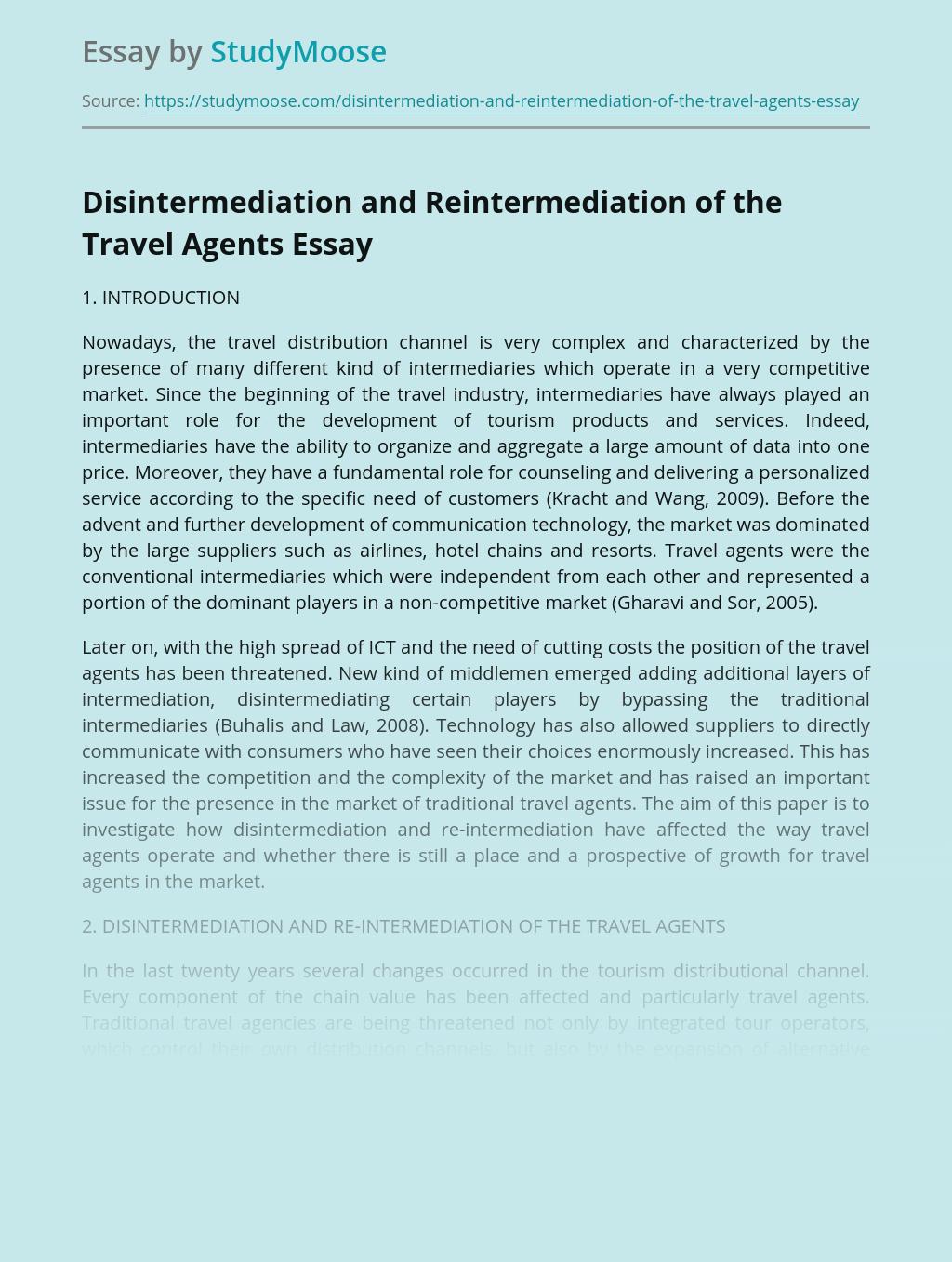 Disintermediation and Reintermediation of the Travel Agents
