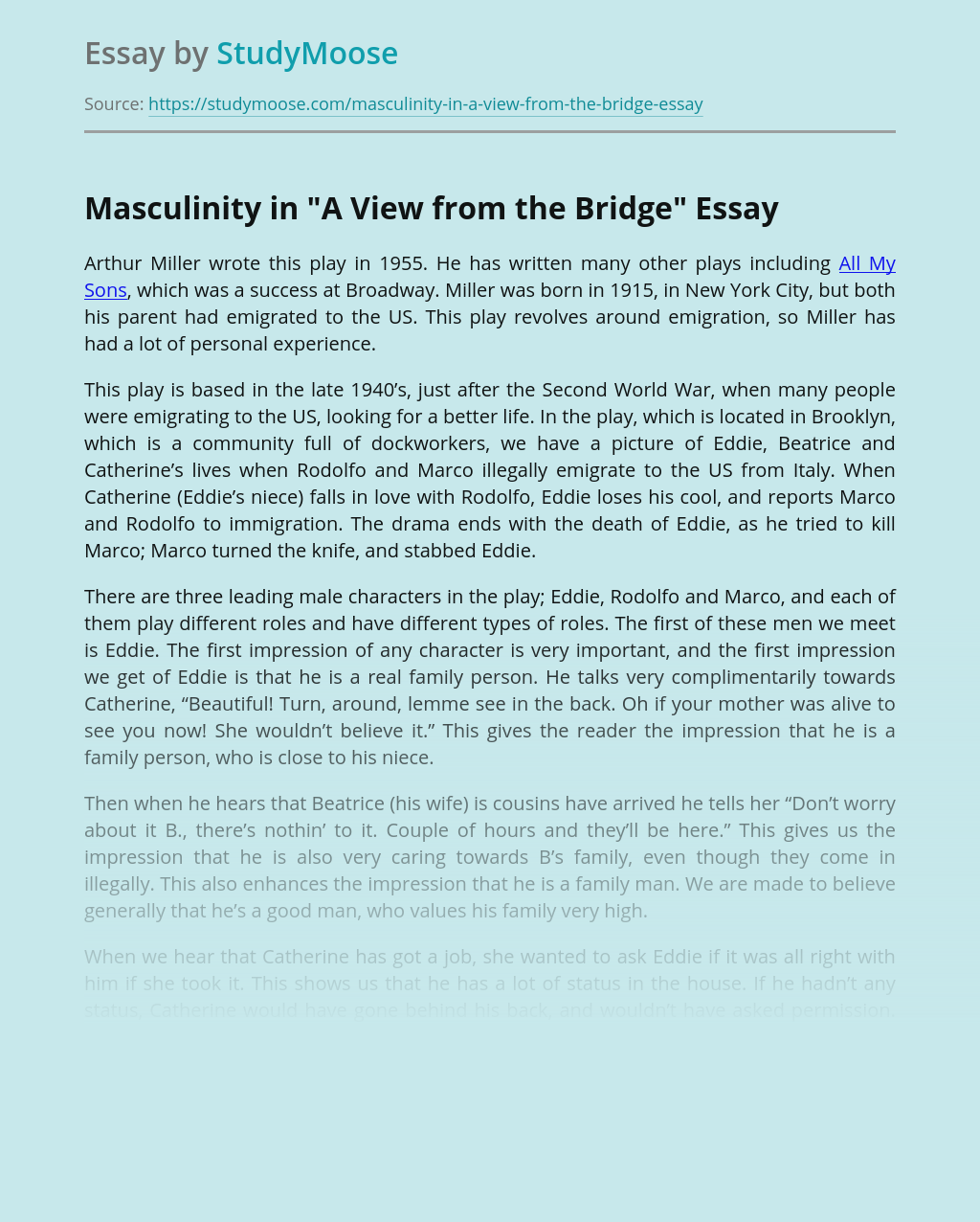 Masculinity in A View from the Bridge Play
