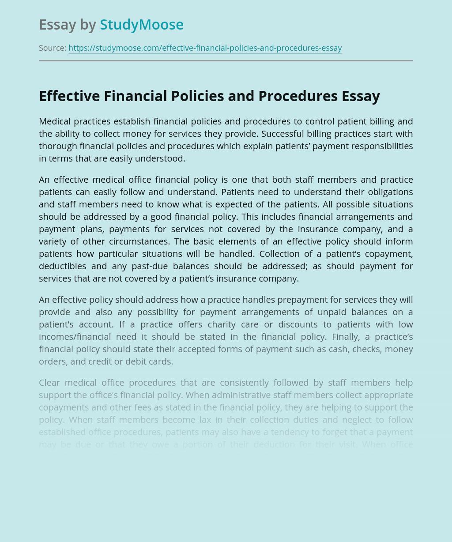 Effective Financial Policies and Procedures and Medicine