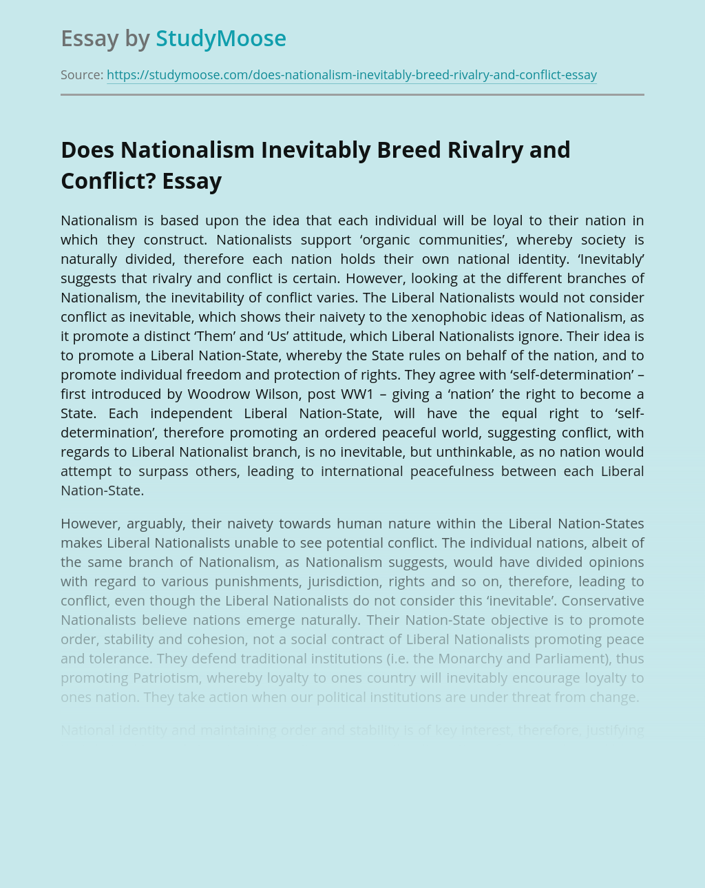 Does Nationalism Inevitably Breed Rivalry and Conflict?