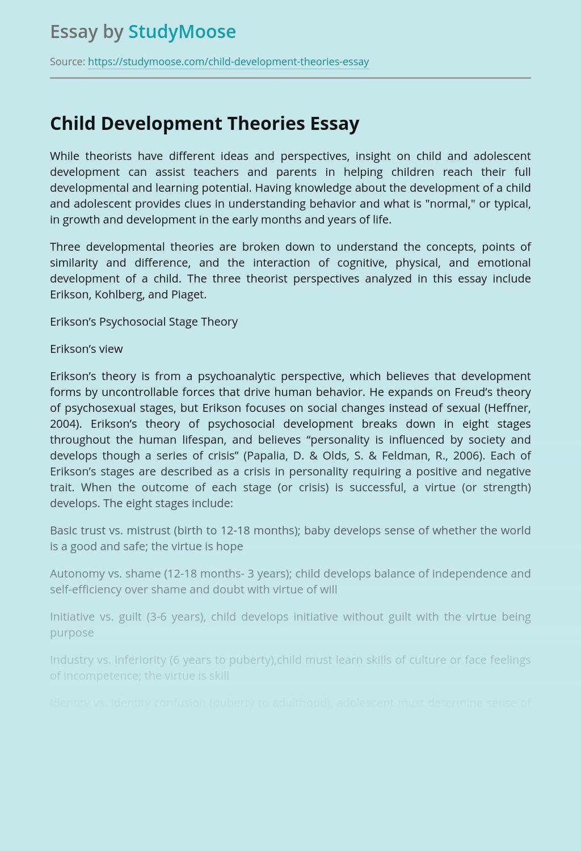 free essay about child development