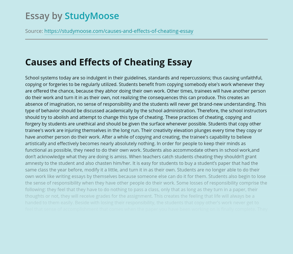 Causes and Effects of Cheating