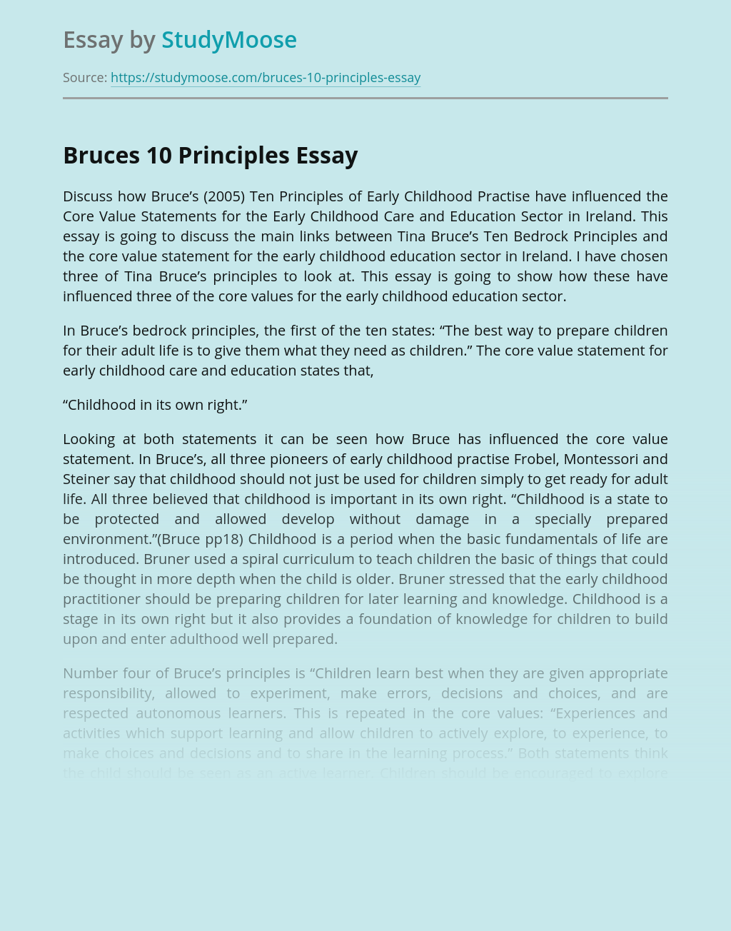 Tina Bruce's Ten Principles for Early Childhood Education