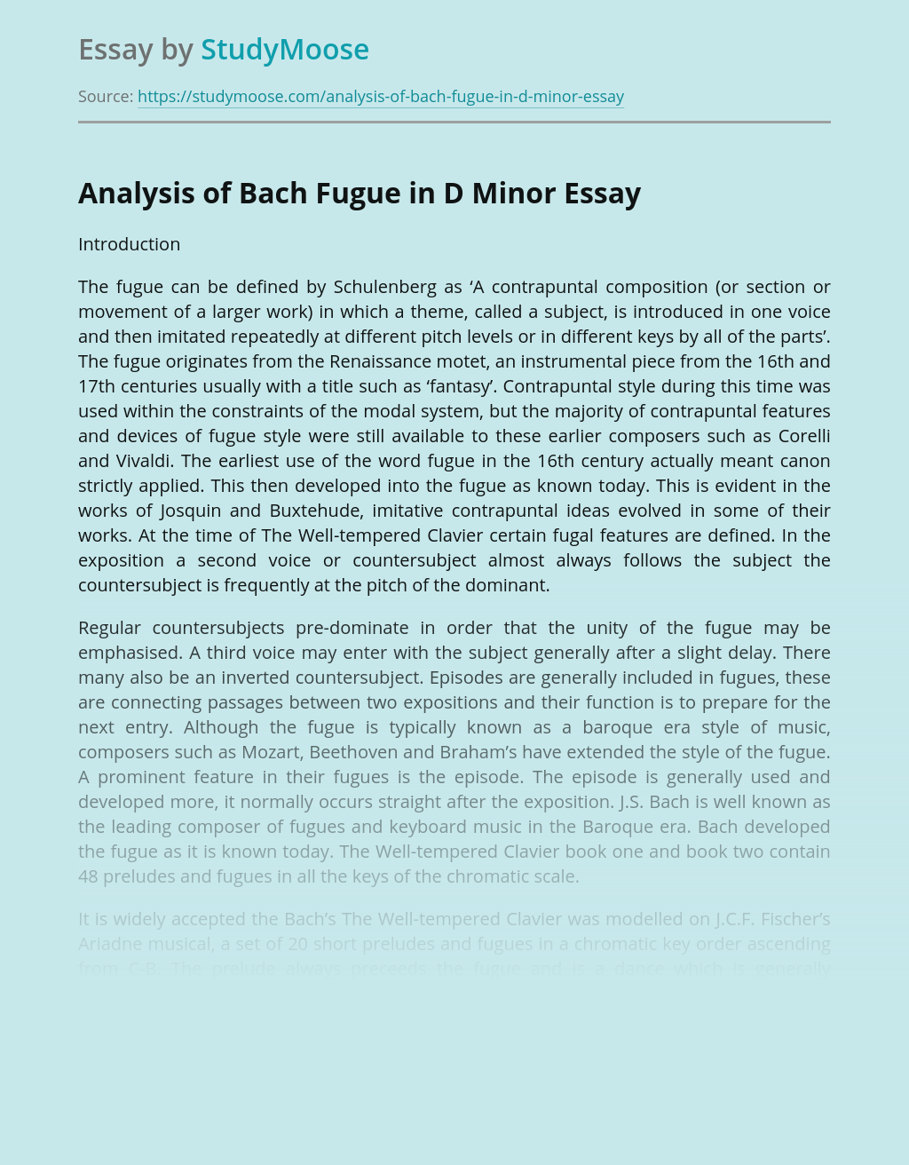 Analysis of Bach Fugue in D Minor