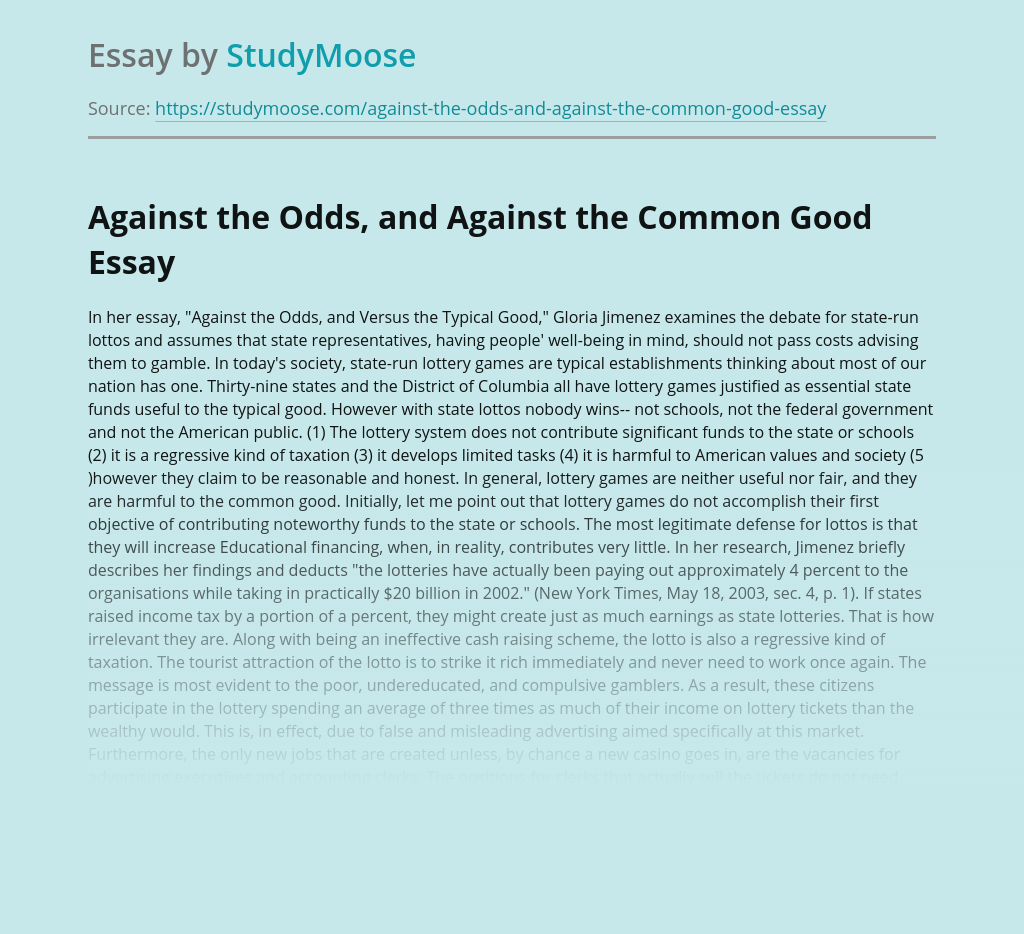 Against the Odds, and Against the Common Good Essay Review