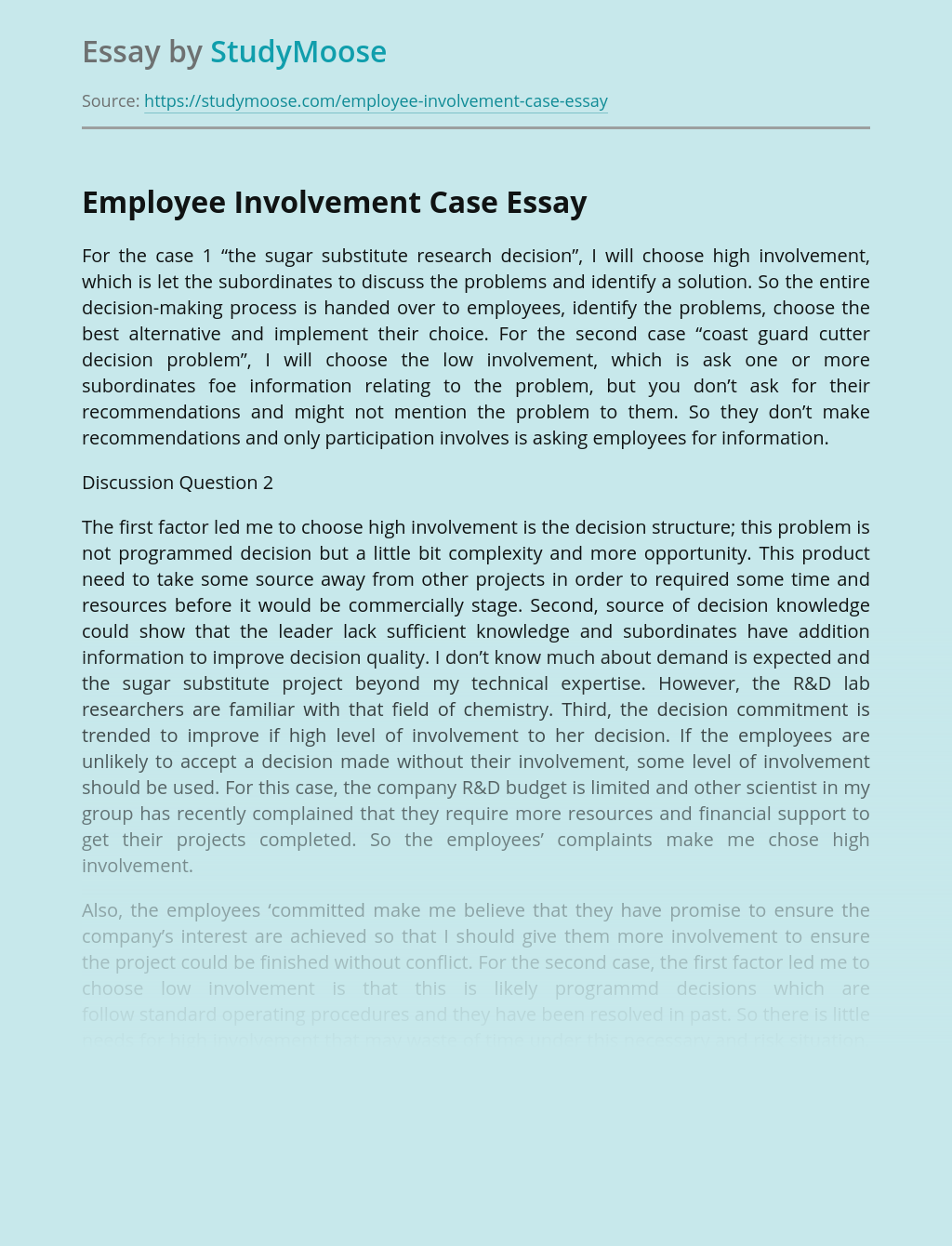 Employee Involvement And Decision Making