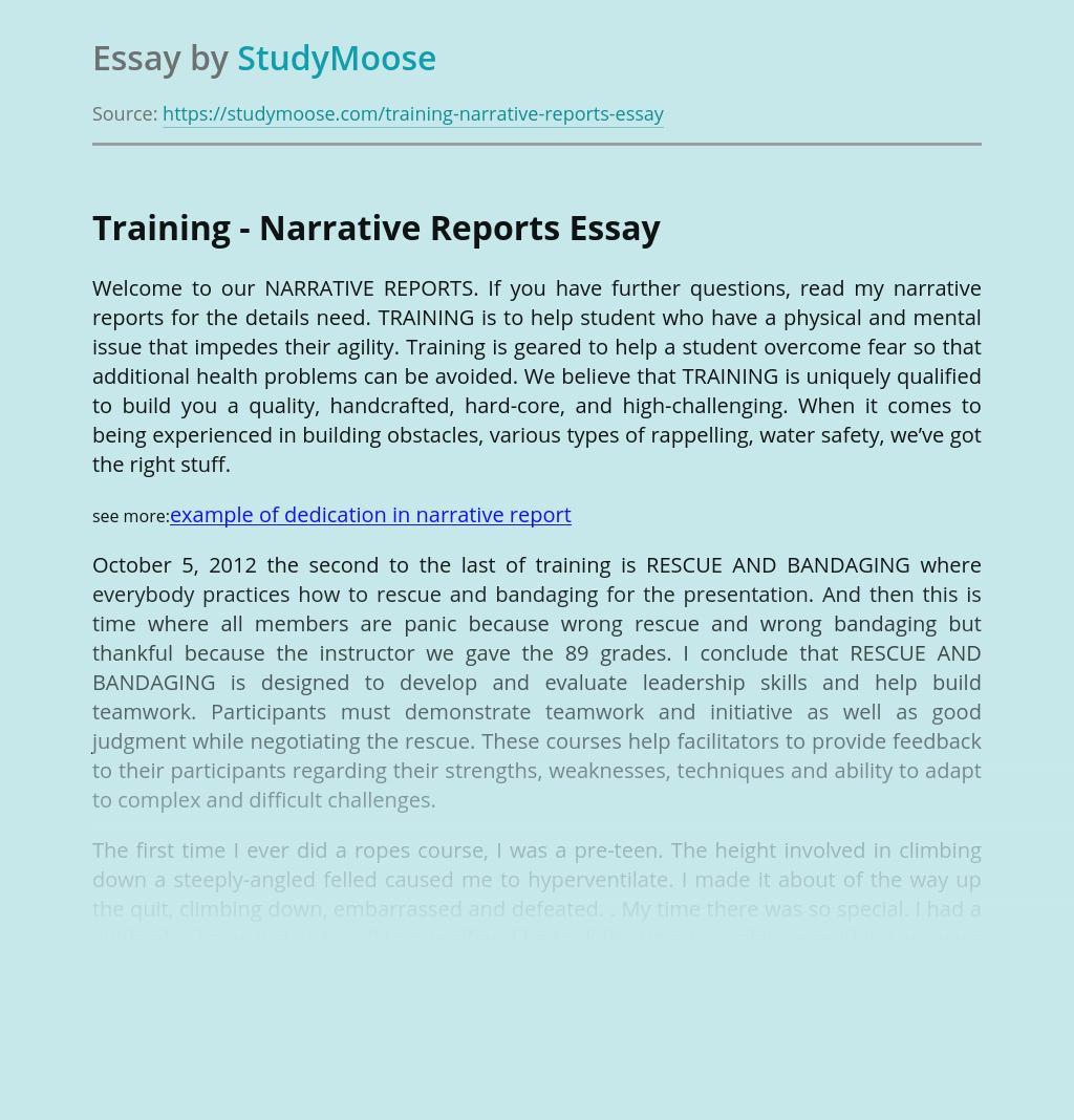 Training - Narrative Reports