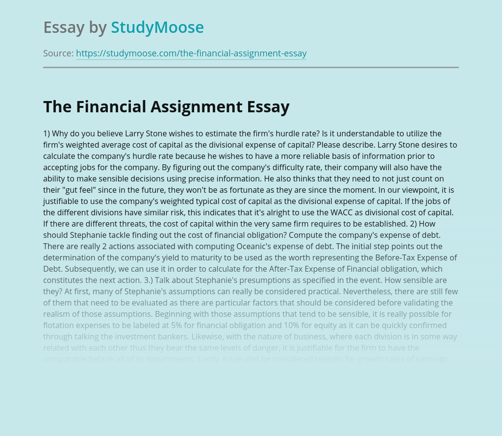 The Financial Assignment