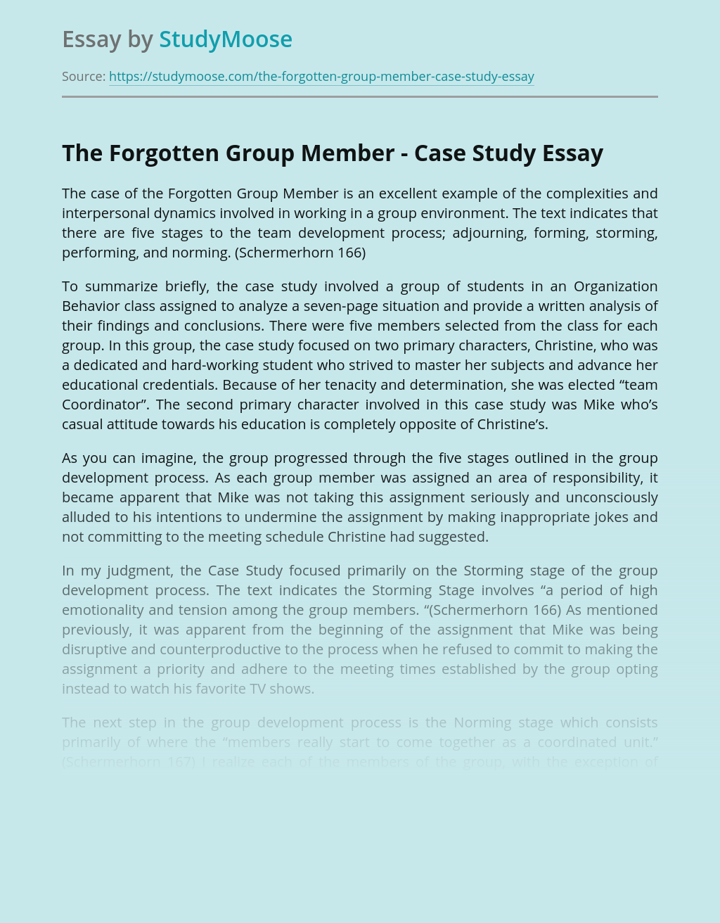 The Forgotten Group Member - Case Study