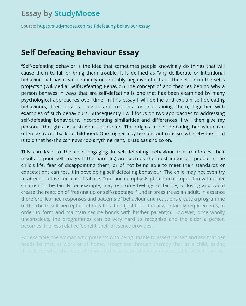 Self Defeating Behaviour