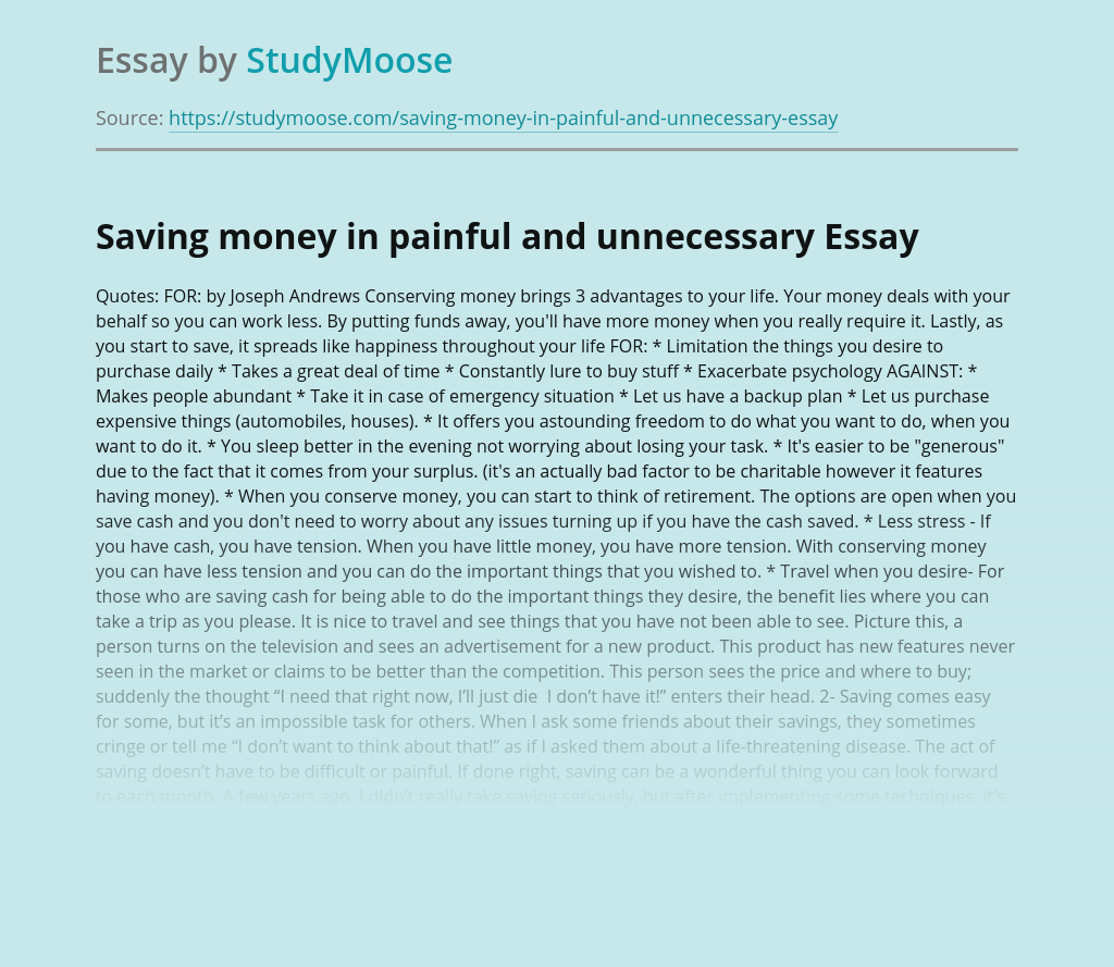 Saving money in painful and unnecessary