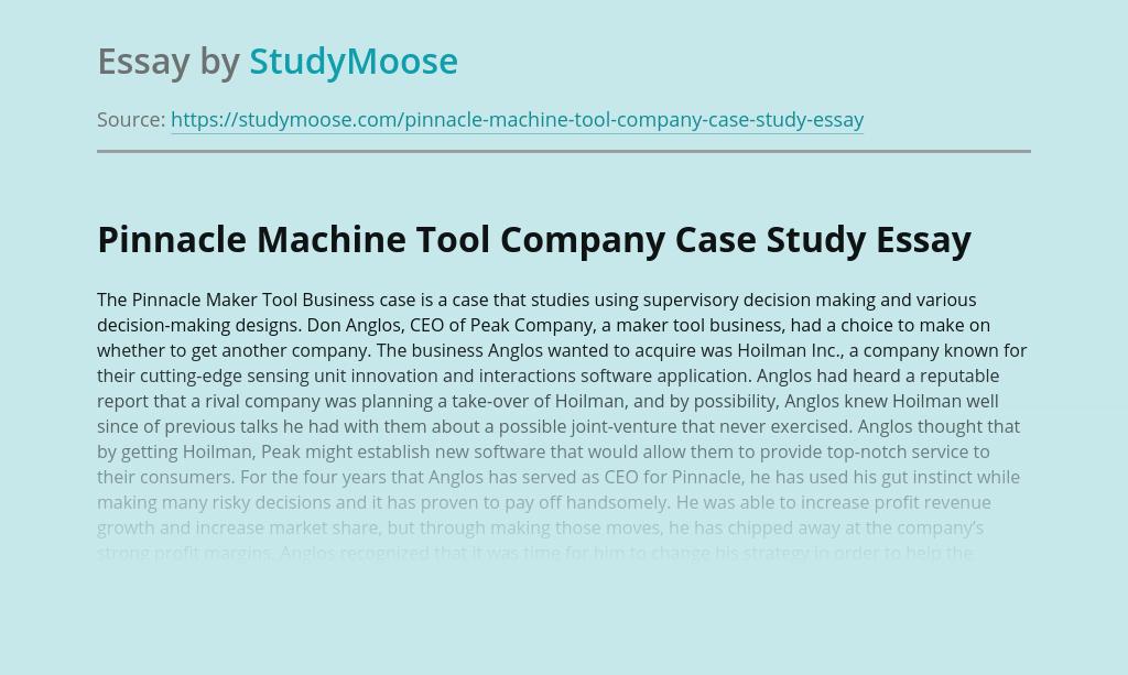Pinnacle Machine Tool Company Case Study