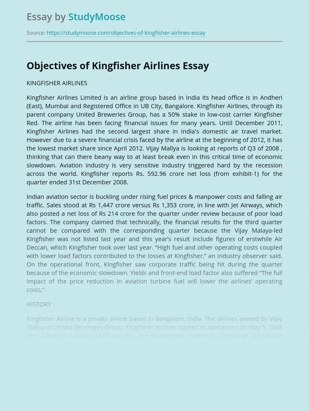 Objectives of Kingfisher Airlines