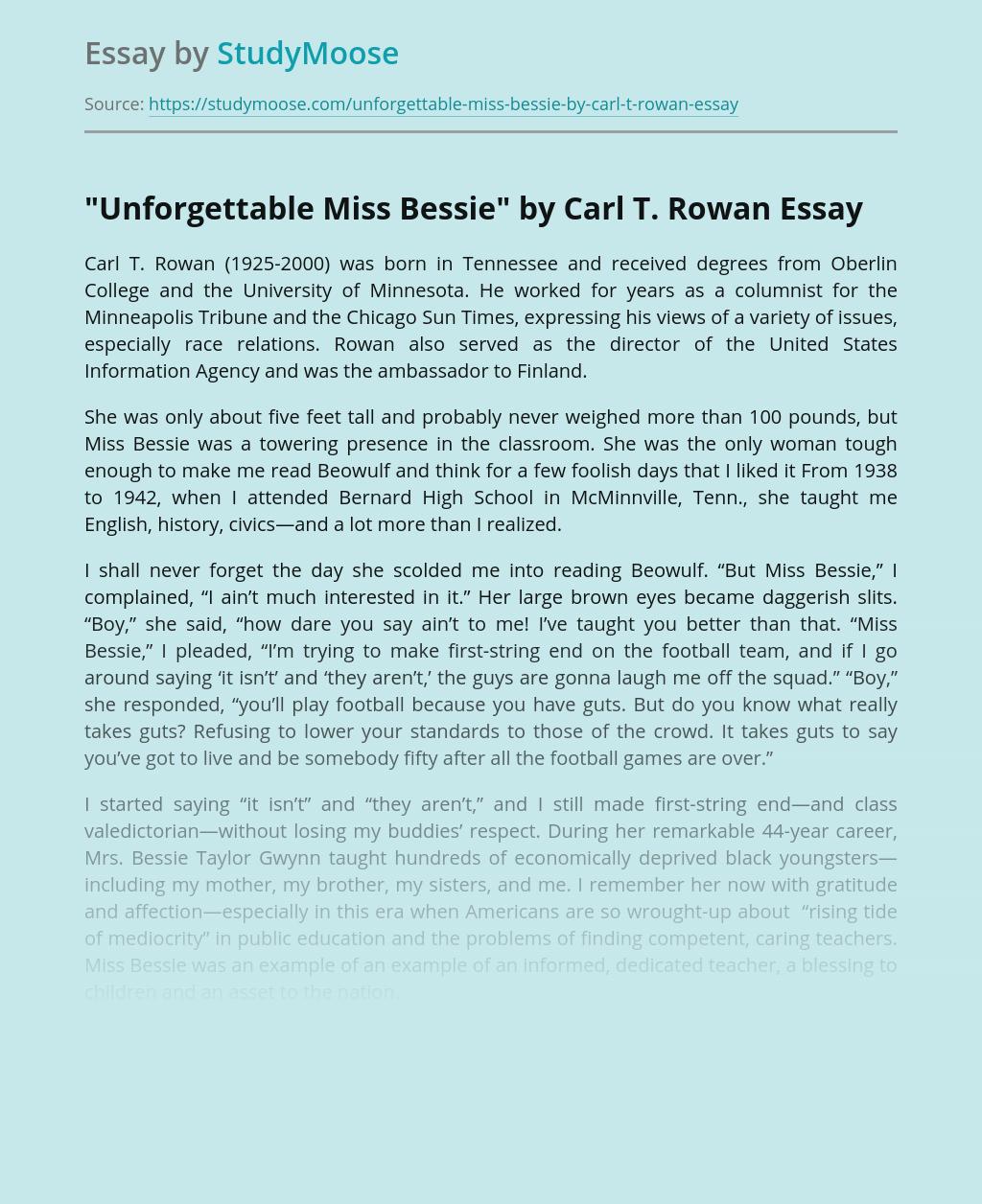 """""""Unforgettable Miss Bessie"""" by Carl T. Rowan"""