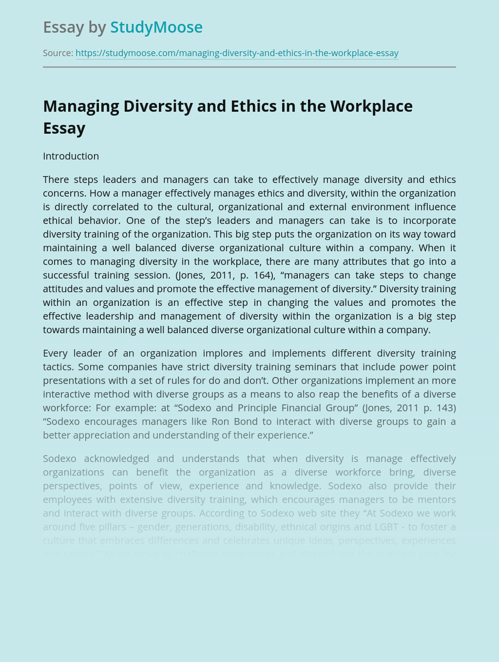 Managing Diversity and Ethics in the Workplace