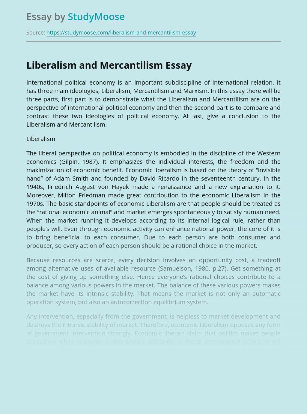 Liberalism and Mercantilism