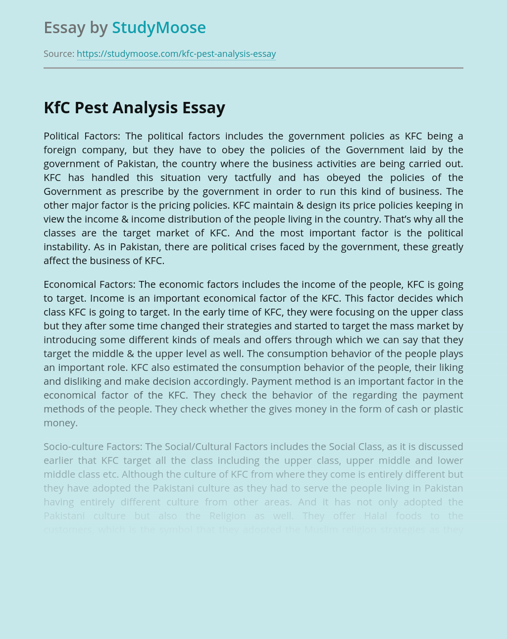 KFC Business Pest Analysis