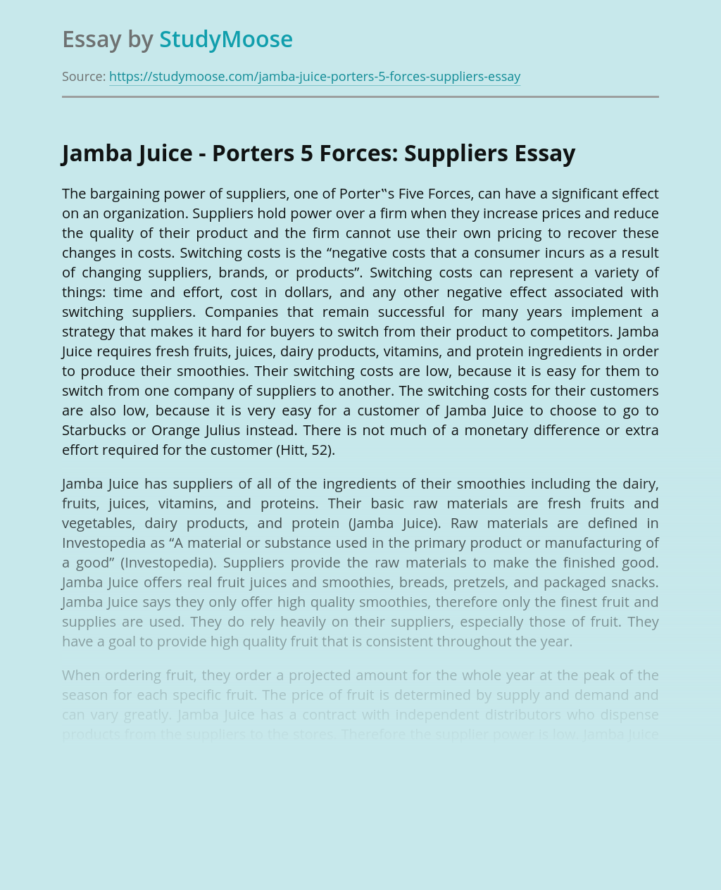 Jamba Juice - Porter's 5 Forces: Suppliers