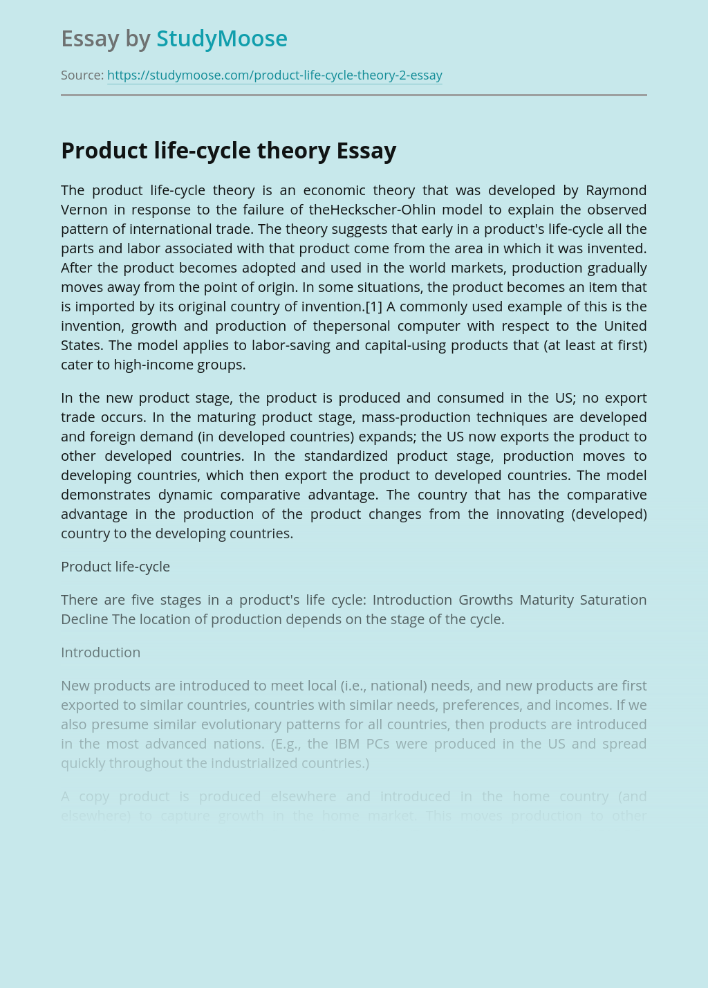 Product life-cycle theory