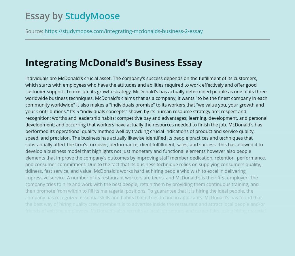 Integrating McDonald's Business