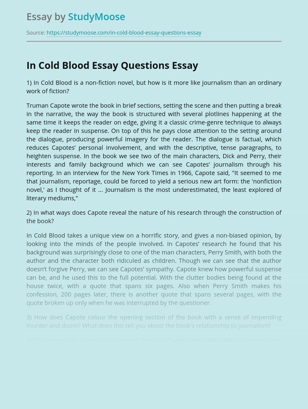 In Cold Blood Essay Questions