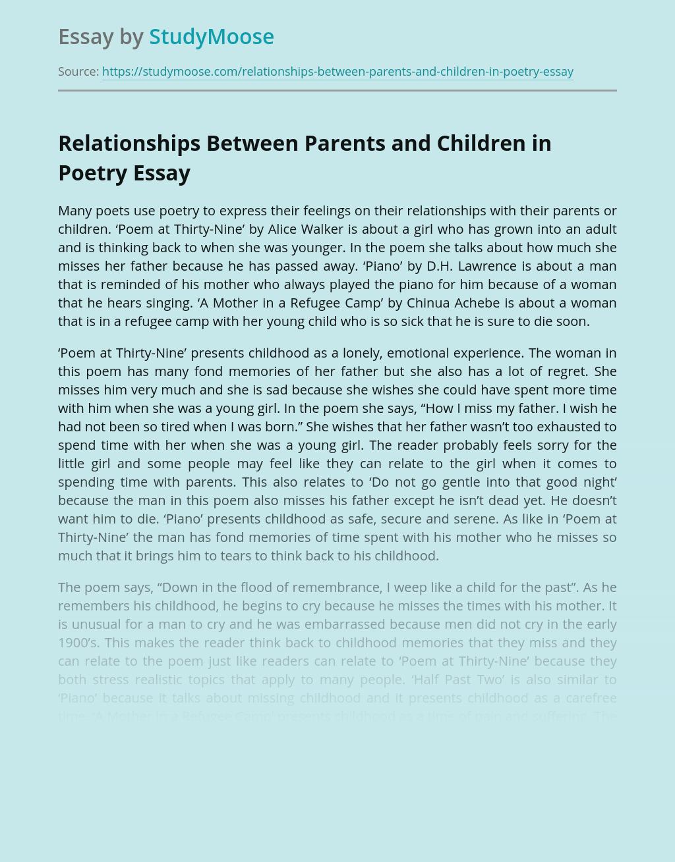 Relationships Between Parents and Children in Poetry