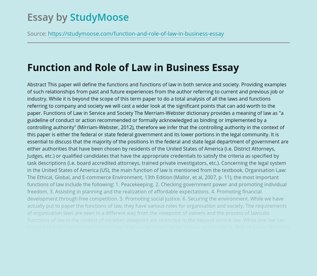 Function and Role of Law in Business