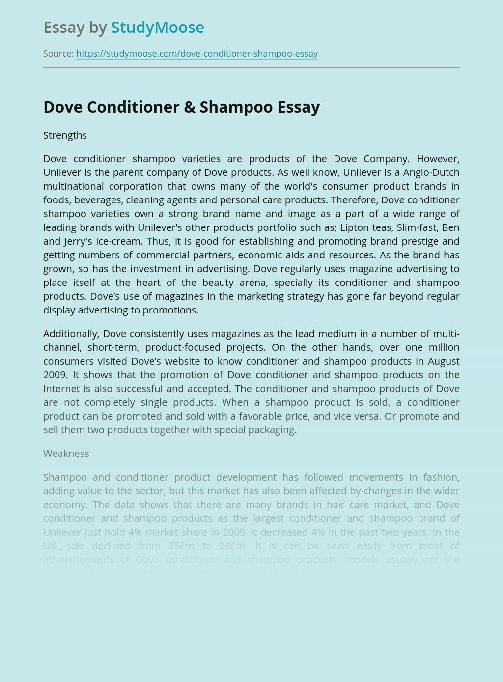 Dove Conditioner & Shampoo
