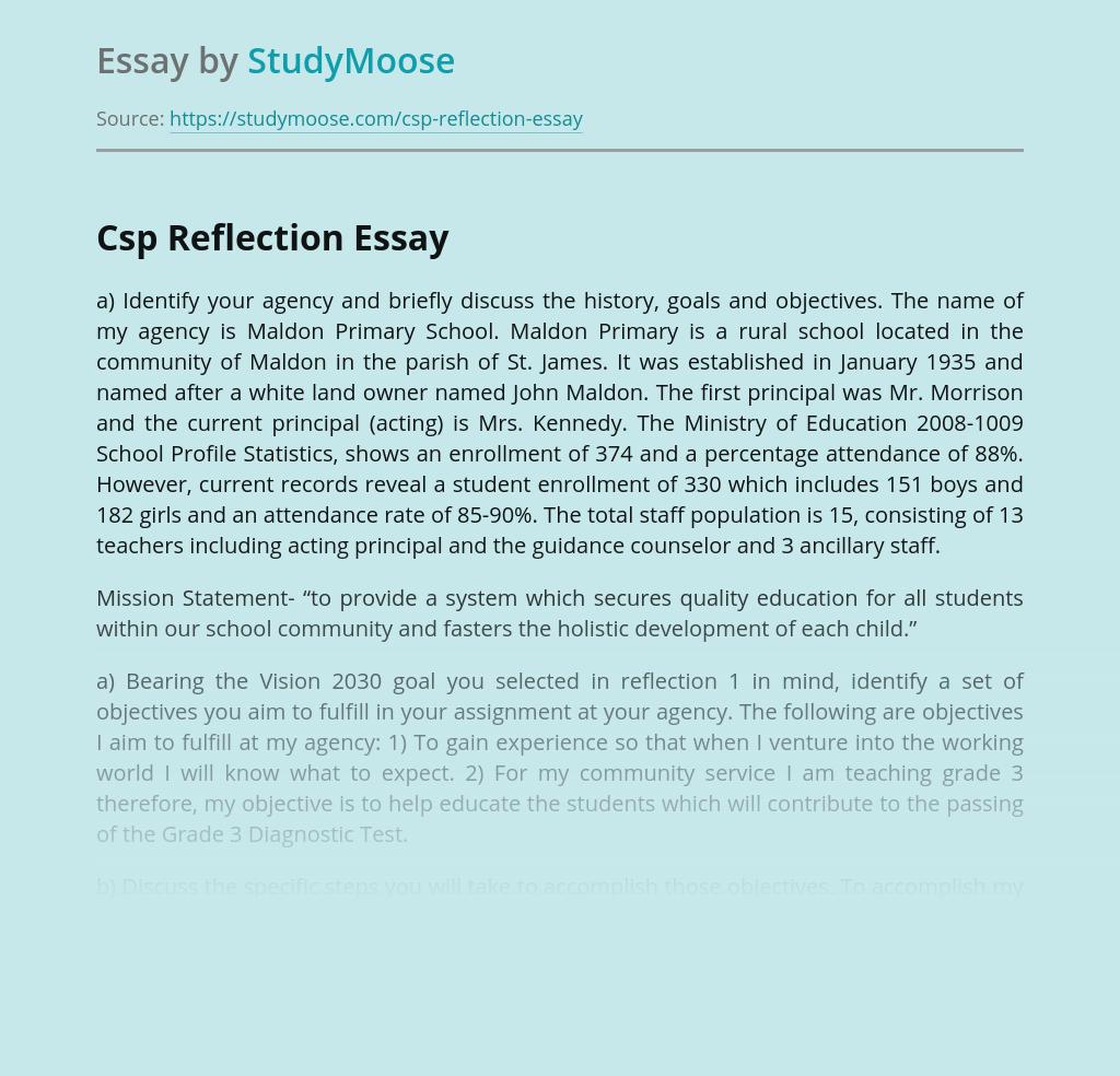 Csp Reflection Maldon Primary