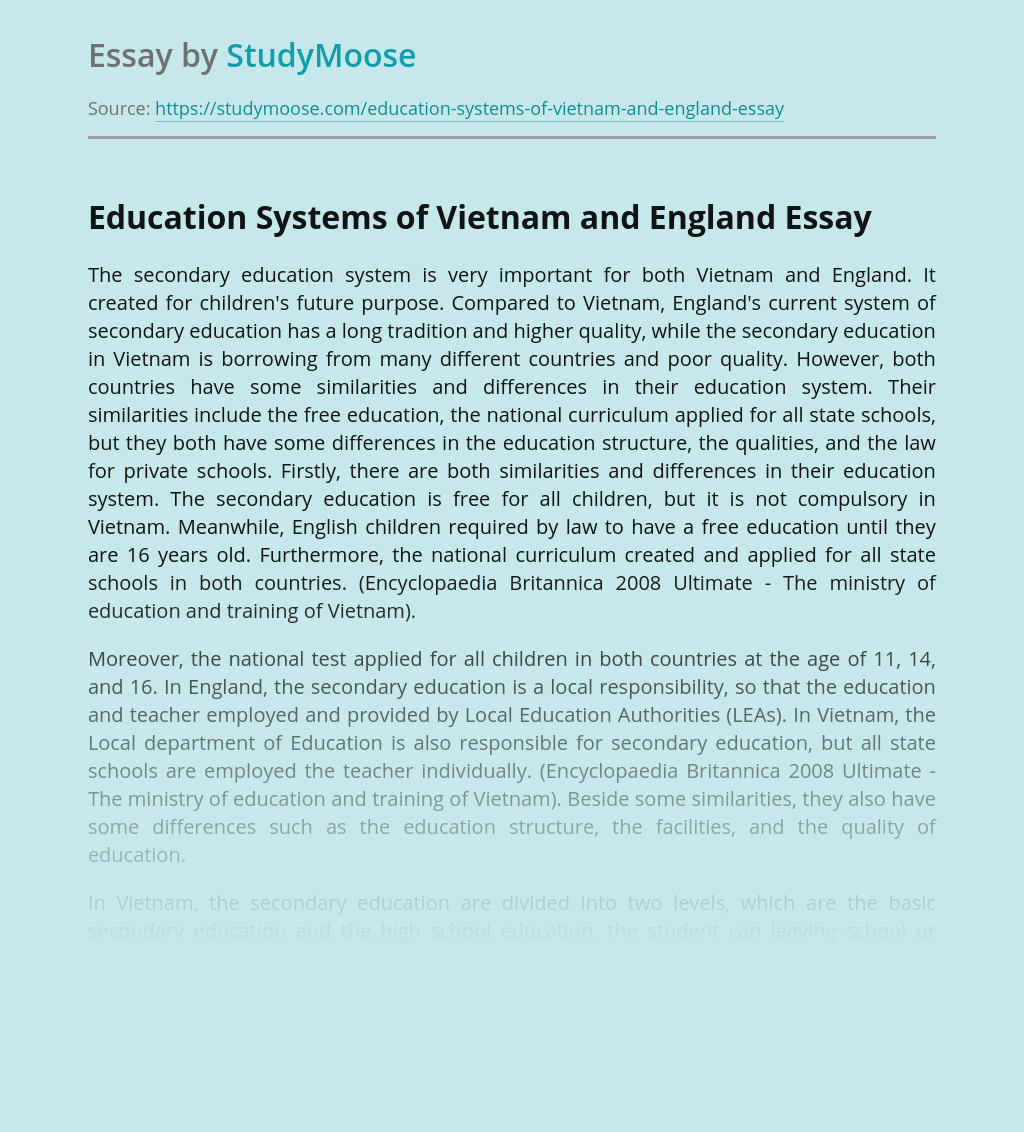Education Systems of Vietnam and England